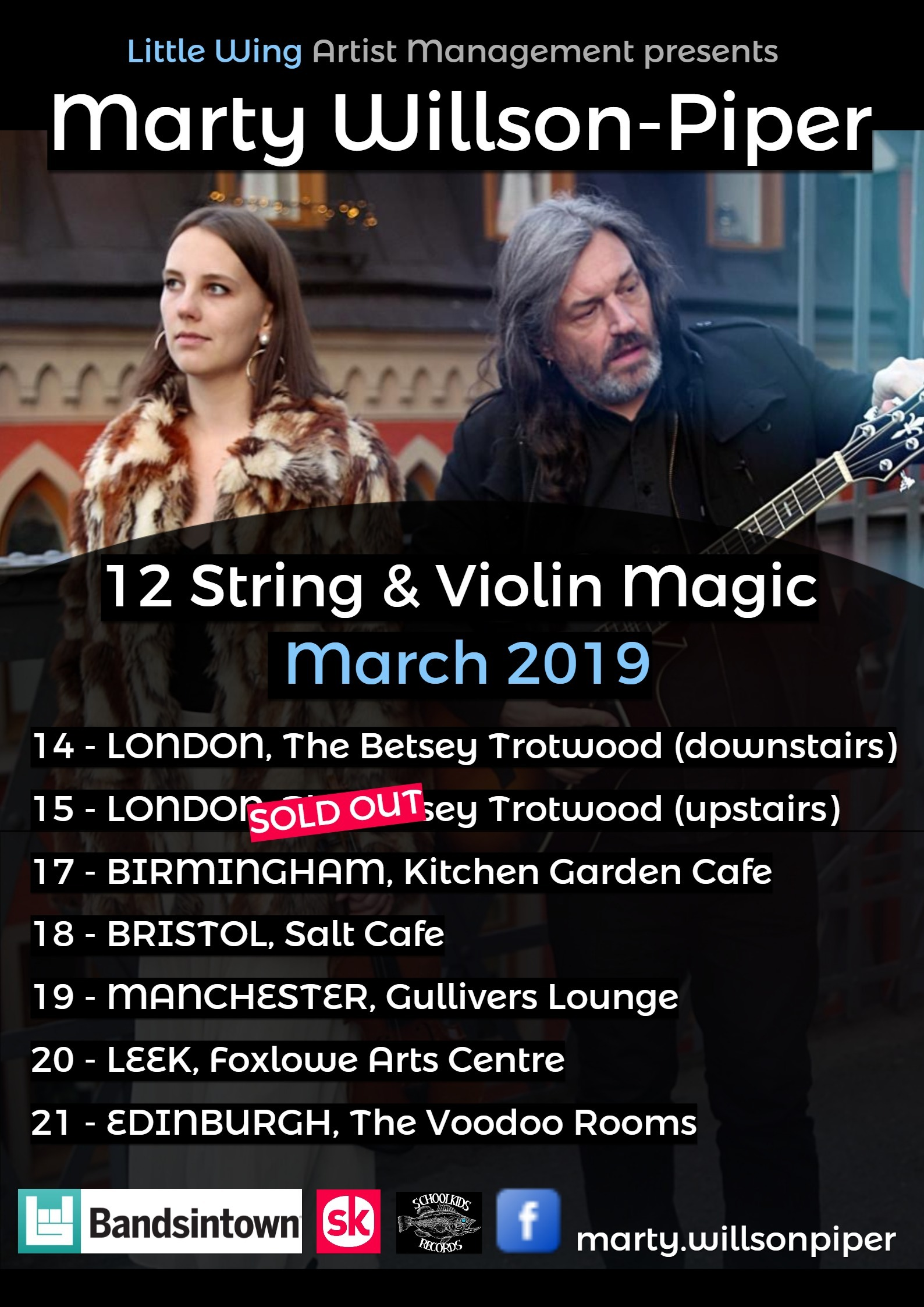 Marty and Olivia Willson-Piper UK Acoustic Tour March 2019