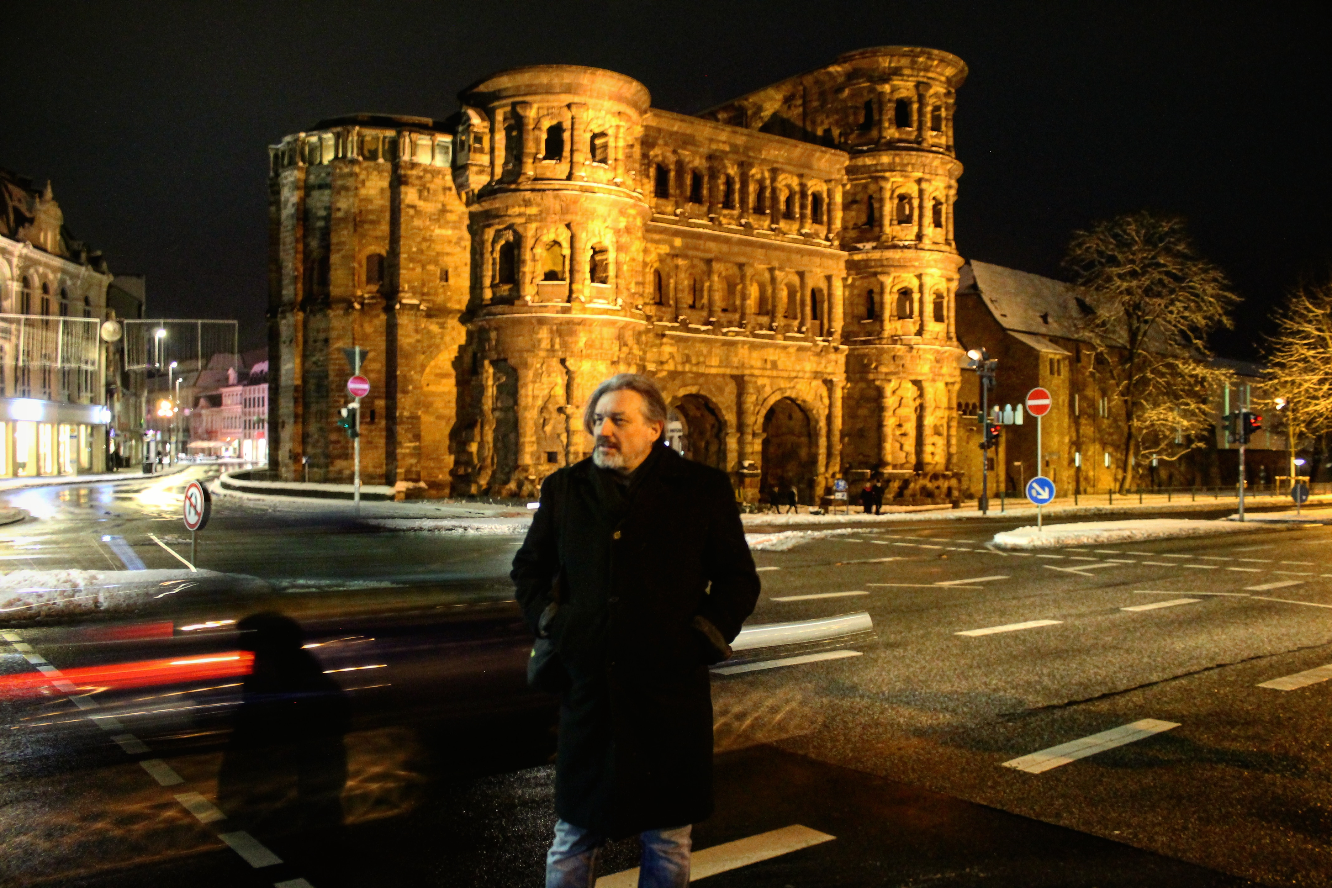 Marty Willson-Piper at the Porta Nigra in Trier, Germany (January 2019) - Photo by Olivia Willson-Piper